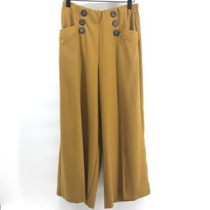 🌿 Zara High Rise Mustard Wide Leg Pants Medium